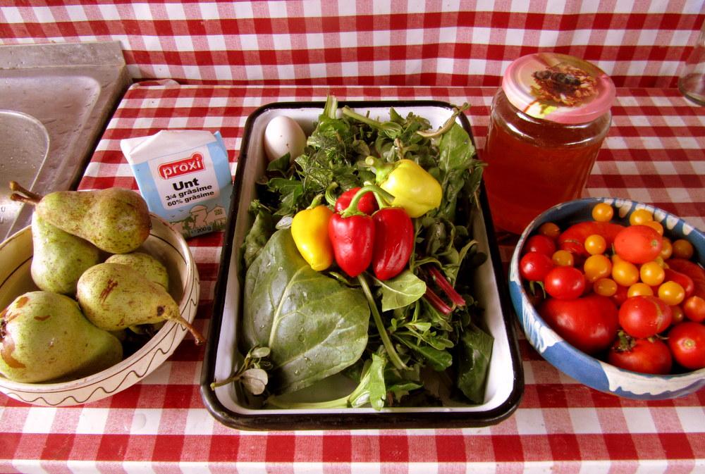 willkommen in rumänWillkommen in Rumänien,alles aus dem Garten, frische Butter und Honig vom Nachbarn-reisen mit Kind-leben im Camper