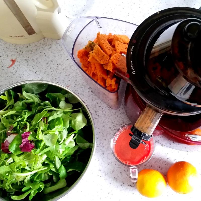 slow juicer-möhren-salat-wildgrün-detox-fasten