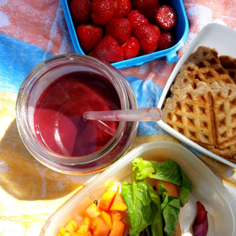 Picknick mit Kindern- Slow Juice- zuckerfreie Waffeln- Erdbeeren- SOmmer- Schloss Tonndorf