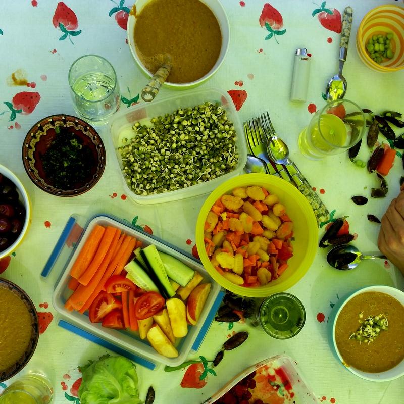 Sommersuppe-Mungobohnen-Garten-Gazpacho-Gnocchi-Erbsen-gemeinsames Essen-